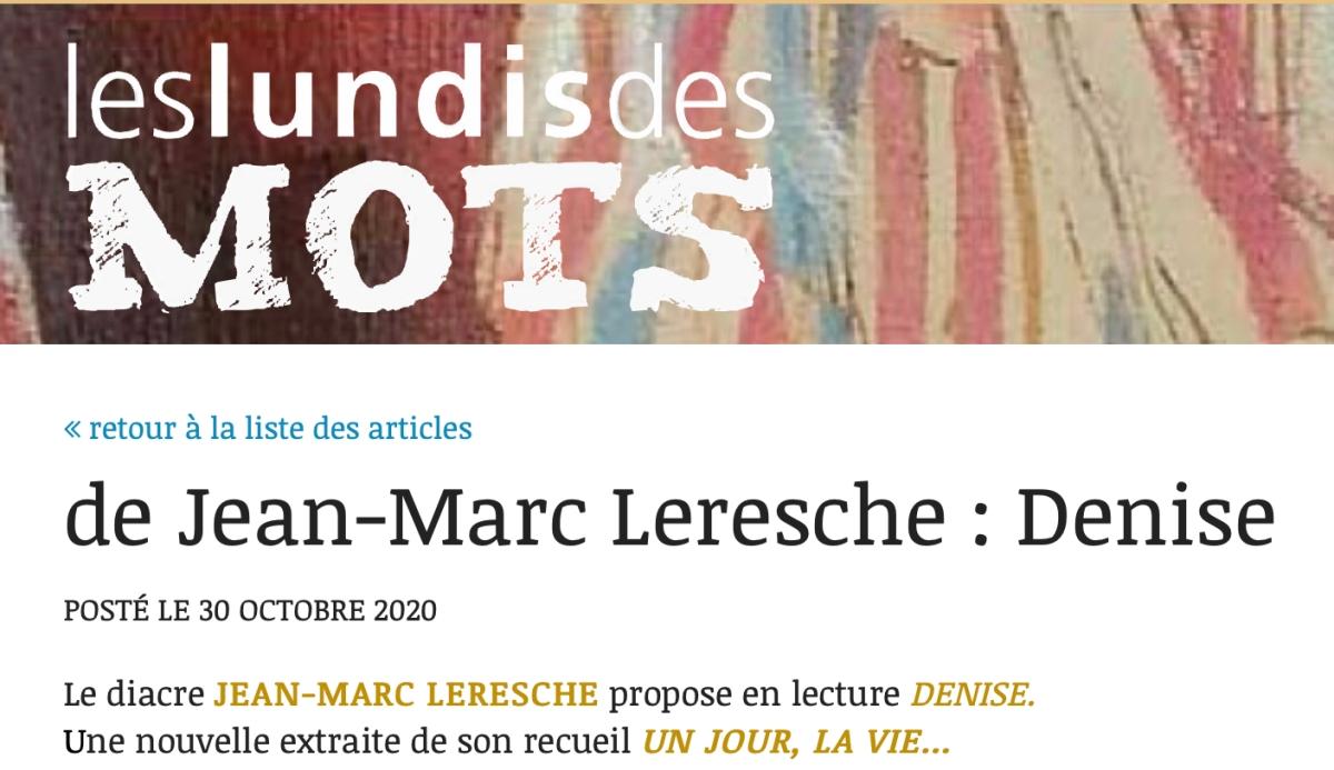 Des nouvelles de Jean-Marc Leresche aux «Lundis des Mots»